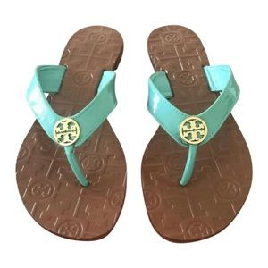 Tory Burch Thora Patent Leather Flat Thong Sandals